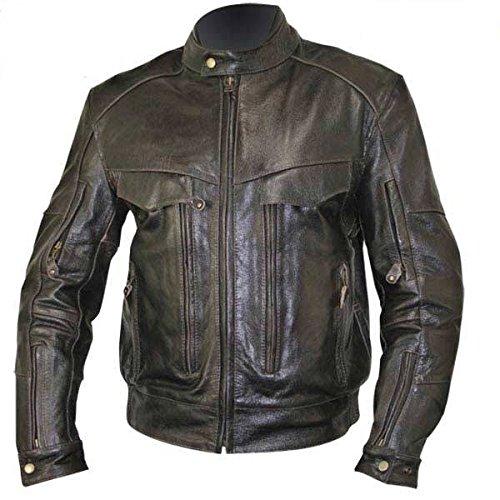 Xelement B7496 Mens Distress Retro Leather-look Bandit Buffalo Leather Jacket W - 2x-large