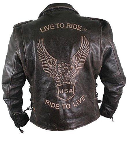 Xelement Premium Retro Mens Brown Leather Embossed Eagle Jacket - Large