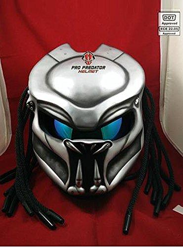 Custom Handmade Predator Motorcycle Dot Approved Helmet Silver Space L