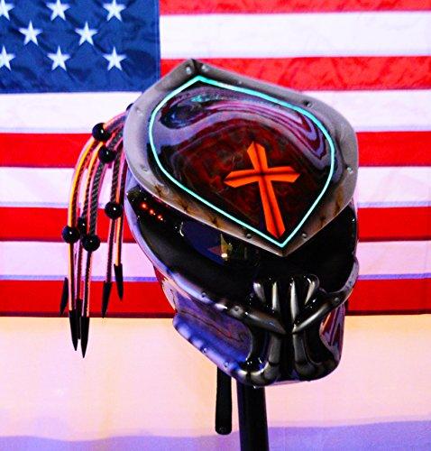 Predator Motorcycle Helmet Fiber Optic Dreads and Ring