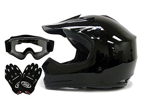 TMS Youth Kids Gloss Black Dirt Bike Atv Motocross Off-road Helmet Wgogglesgloves Medium