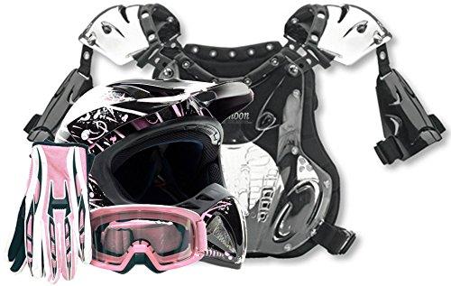 Adult Offroad Helmet Goggles Gloves Chest Protector Gear Combo Motocross Atv Dirt Bike Pink Splatter ( Large )