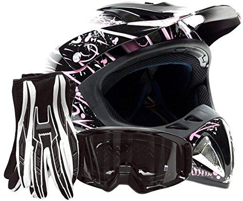 Adult Offroad Helmet Goggles Gloves Gear Combo Dot Motocross Atv Dirt Bike Mx Black Pink Splatter ( Large )