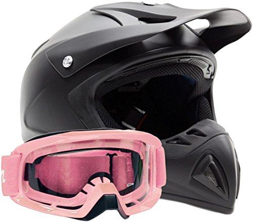 Adult Offroad Helmet & Goggles Gear Combo Dot Motocross Atv Dirt Bike Mx Pink Flat Matte Black ( Small )