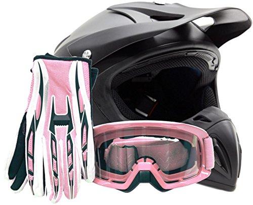 Mens Womens Offroad Helmet Goggles Gloves Gear Combo Dot Motocross Atv Dirt Bike Pink Flat Matte Black ( Small )