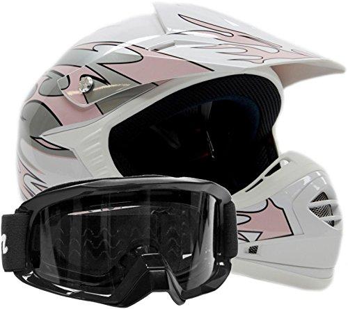 Youth Offroad Gear Combo Helmet & Goggles Dot Motocross Atv Dirt Bike Mx Motorcycle Pink Black - Medium