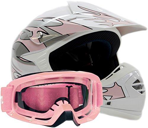 Youth Offroad Gear Combo Helmet & Goggles Dot Motocross Atv Dirt Bike Mx Motorcycle Pink - Medium