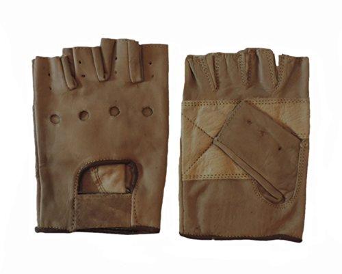 Light Brown Leather Motorcycle Padded Fingerless Gloves Medium