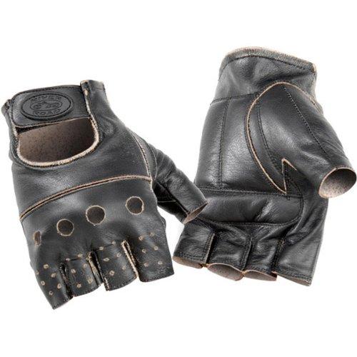 River Road Buster Vintage Men's Shorty Leather Harley Motorcycle Gloves - Dark Brown / Large