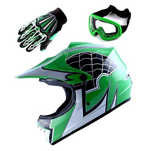 Motocross MX BMX Bike Youth Spider Green Helmet Size Medium  Goggle  Skeleton Glove Size Small