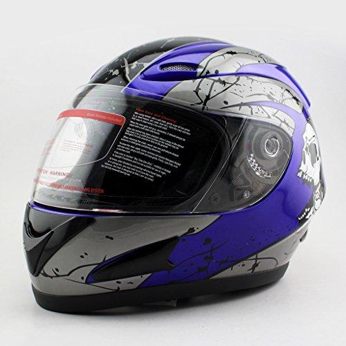 Blue DOT Motorcycle Street Sport Bike Skull Full Face Adult Helmet Blue Size Medium