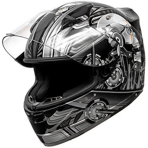 KOI DOT Motorcycle Helmet Full Face KOI Cyborg Skull Gloss Grey w Clear Visor - XL