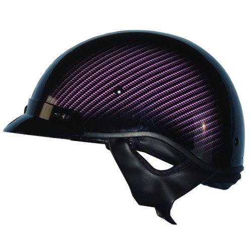 Zoan Route 66 Carbon Black Pink DOT Motorcycle Half Helmet w Sun Shield XX-Small