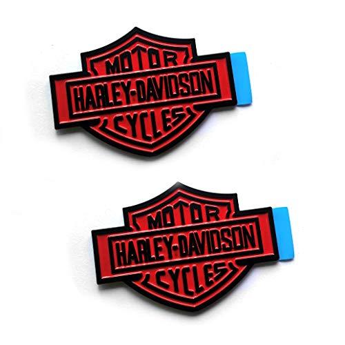 2x OEM Harley Davidson Fuel Tank Emblems Badges Dyna Sportster Street 3D Logo Replacement for F-150 F250 F350 Black Red