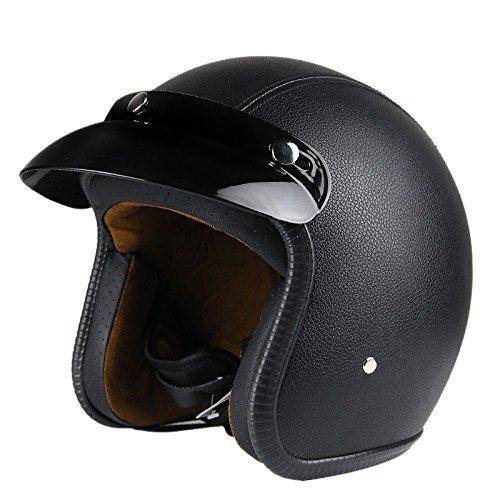 Woljay 34 Open Face helmet Motorcycle Helmet Flat leather Black L