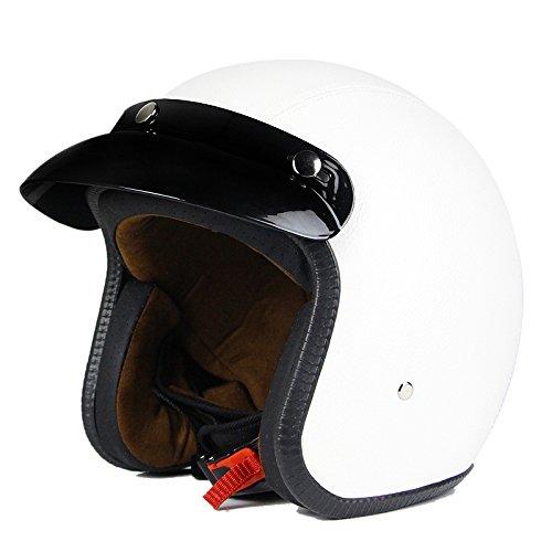 Woljay 34 Open Face helmet Motorcycle Helmet Flat leather White XXL