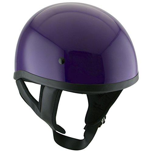 Outlaw T68 DOT Purple Motorcycle Skull Cap Half Helmet - Large