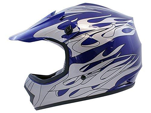 TMS Youth Kids Blue Flame Dirt Bike Motocross Helmet Atv Mx Large