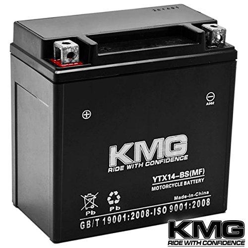 Kmg® Honda 350 Trx350 Rancher 2000-2006 Ytx14-bs Sealed Maintenace Free Battery High Performance 12v Smf Oem Replacement