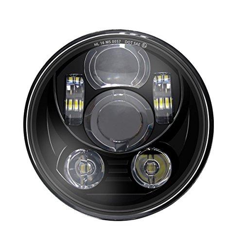 WISAMIC 5-34 575 inch LED Headlight - Compatible with Harley Davidson Dyna Street Bob Super Wide Glide Low Rider Night Rod Train Softail Deuce Custom Sportster Iron 883-Black