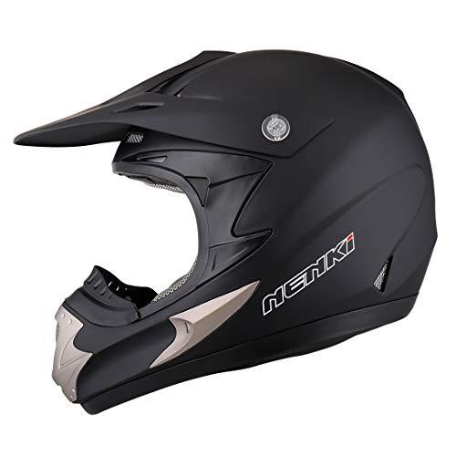 NENKI Motocross ATV Dirt bike Helmet NK-301 for MenDOT Approval L 59-60CM MATT BLACK