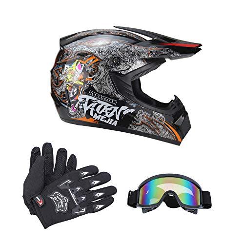 Senhill DOT Motocross Helmet Unisex Offroad Helmet Dirt Bike ATV Motorcycle Helmet Gloves Goggles Black M