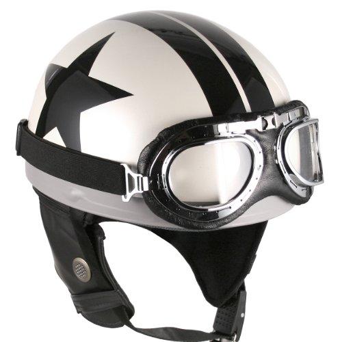 Goggles Vintage German Style Half Helmet (white Black-star , Large) Motorcycle Biker Cruiser Scooter Touring Helmet
