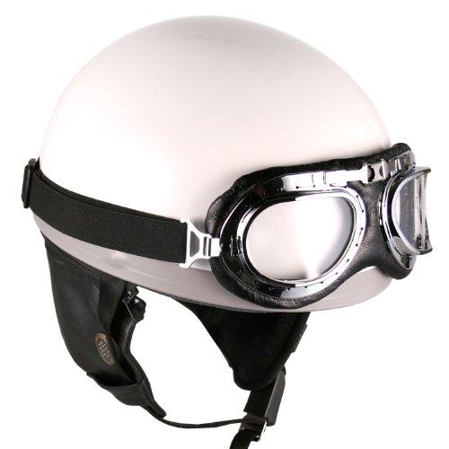Goggles Vintage German Style Half Helmet (white, Large) Motorcycle Biker Cruiser Scooter Touring Helmet
