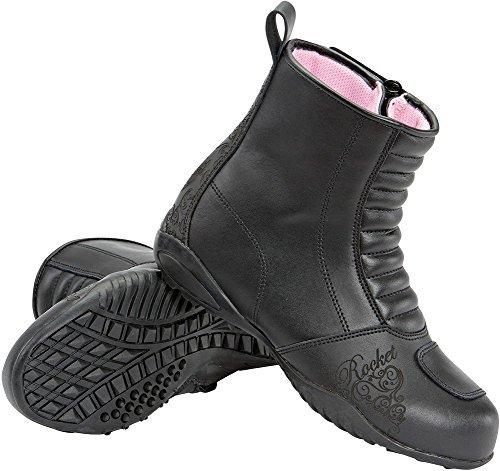 Joe Rocket Trixie - Womens Leather Motorcycle Boot - Black - 8