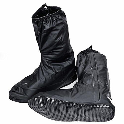 Unisex Men Women Black Rain Boot Shoe Cover W/ Zipper Us 10 11 For Rainning Driving Motorcycle Bike