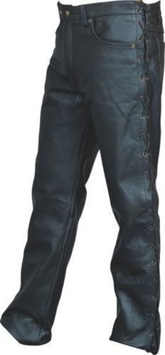 Mens Black Heavy Duty N Soft Analine Cowhide Leather Jean-style Black Pants W 5 Laces N Ykk Hardware