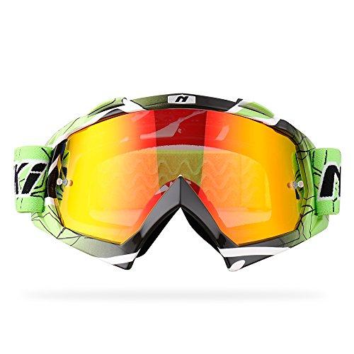 NENKI Motocross Goggles NK-1019 MX ATV Off Road Dirt Bike Goggles For Unisex Adult Techline GreenAnti Fog Mirrored Lens