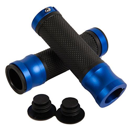 TDH High Quality Universal PVC Anodized Aluninium Handlebar Grips with Bar End Caps Blue