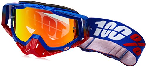 100 Unisex-Adult Republic Racecraft MX Motocross Goggles With Mirrored Lens BlueRedOne Size Fits Most