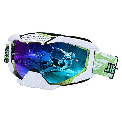 JIEPOLLY Motocross GogglesMotorcycle ATV Dirt Pit Bike Off Road Racing MX Goggles Windproof with Tear Off Staple for Adult Women Men