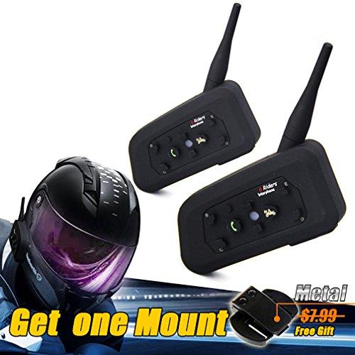LEXIN Waterproof 1200 Meters Range 2x Interphone Bluetooth 2 Way Motorcycle Helmet Multi Intercom Headset 6 Riders and get a mount for free
