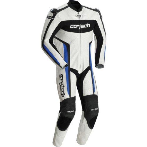 Cortech Latigo Rr Men's 1-piece Leather Street Racing Motorcycle Race Suit - White/blue / Medium