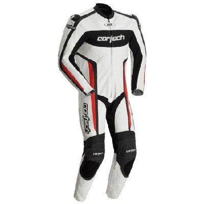 Cortech Latigo Rr Men's 1-piece Leather Street Racing Motorcycle Race Suit - White/red / Medium