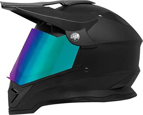 GDM DK-650 Dual Sport Full Face Offroad Dirt Bike MX Motocross Motorcycle Helmet - Matte Black X-Large - With Clear Iridium Visors