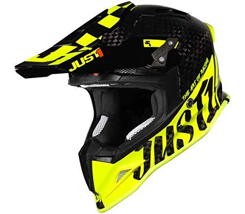 JUST 1 Pro Racer 12K Full Carbon Fiber MX Off-Road Motocross Motorcycle Helmet Pro-Racer Yellow Carbon Gloss XX-Large