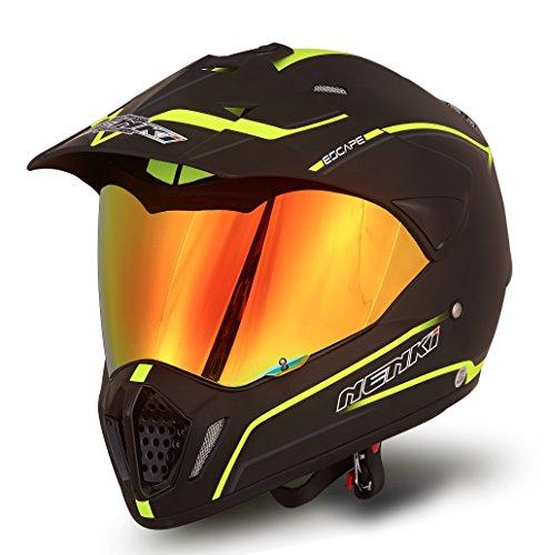 NENKI NK-310 Dual Sport Enduro Motocross Motorcycle Helmet Dot Approved with Iridium Red Visor Attached Clear Visor XL 60-61CM Matt Black Fluo Yellow