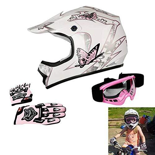 TCT-MT DOT Helmet  Goggles Gloves Youth Kids Pink Butterfly Helmet Offroad Street Dirt Bike Motocross Motorcycle Helmet Large