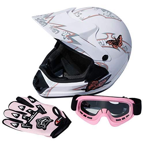 TCT-MT DOT Helmet wGloves Goggles Adult Dirt Bike ATV Motocross Motorcycle Helmet wGloves Goggles White Pink X-large