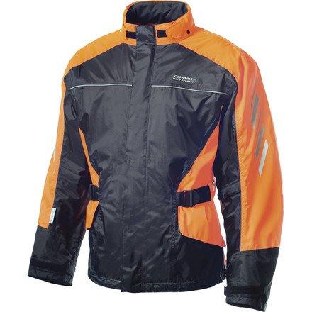 Olmypia Horizon Adult Rain Jacket Street Motorcycle Rain Suit - Black/neon Orange / Medium/large