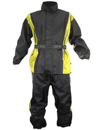 Xelement Mens 2 Piece Black And Yellow Motorcycle Rainsuit - 2x-large