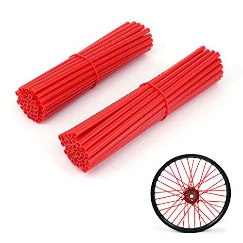 JFG RACING 72 Pcs Red Motorcycle Spoke Skins Covers coats For 19-21 Rims Honda Dirt Bike
