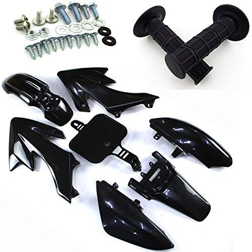 TC-Motor Black Body Work Fender Fairing Kit Plastic Bolt Screws Kits Throttle Hand Grips For Honda Dirt Bike CRF50 XR50 50cc 70 90cc 110cc 125cc 150cc 160cc Pit Bike