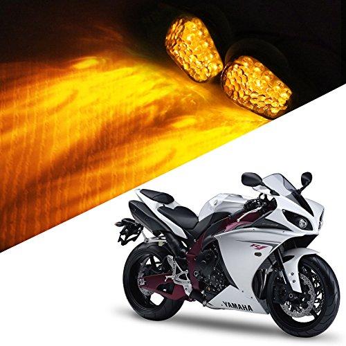 1 Pair Universal Motorcycle LED Flush Mount Turn Signal Light Indicator for Yamaha KLX250 YZ125 KX85 XG250 YZF-R1 YZF-R3 YZF-R6 YZF-R25 VAMX MT-09 MT-07 FZ1 FZ-10 FZ-09 SR400 Sport Street Racing Bike