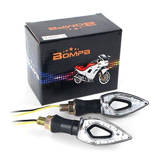BOMPA 2pc Motorcycle LED Turn Signal Indicator Blinker Light 12V Amber Yellow Lamp Unique Design Universal Turn Signals fit Honda Yamaha Harley Suzuki Kawasaki