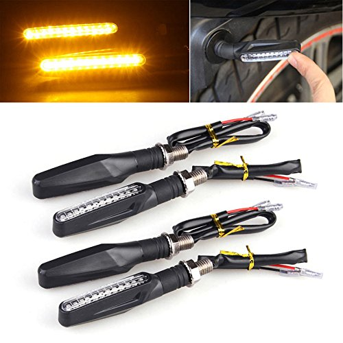 LTC Universal Motorcycle Bike 4pcs 12 LED Turn Signal Indicator Light Blinker Lamp Amber Bendable